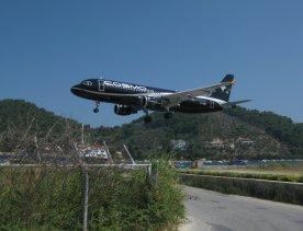 201207SQ holiday greece skiathos airport aeroplane landing